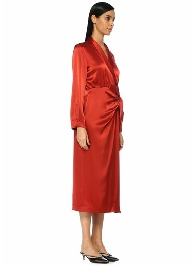 Nanushka Şal Yaka Midi Saten Anvelop Elbise Kırmızı